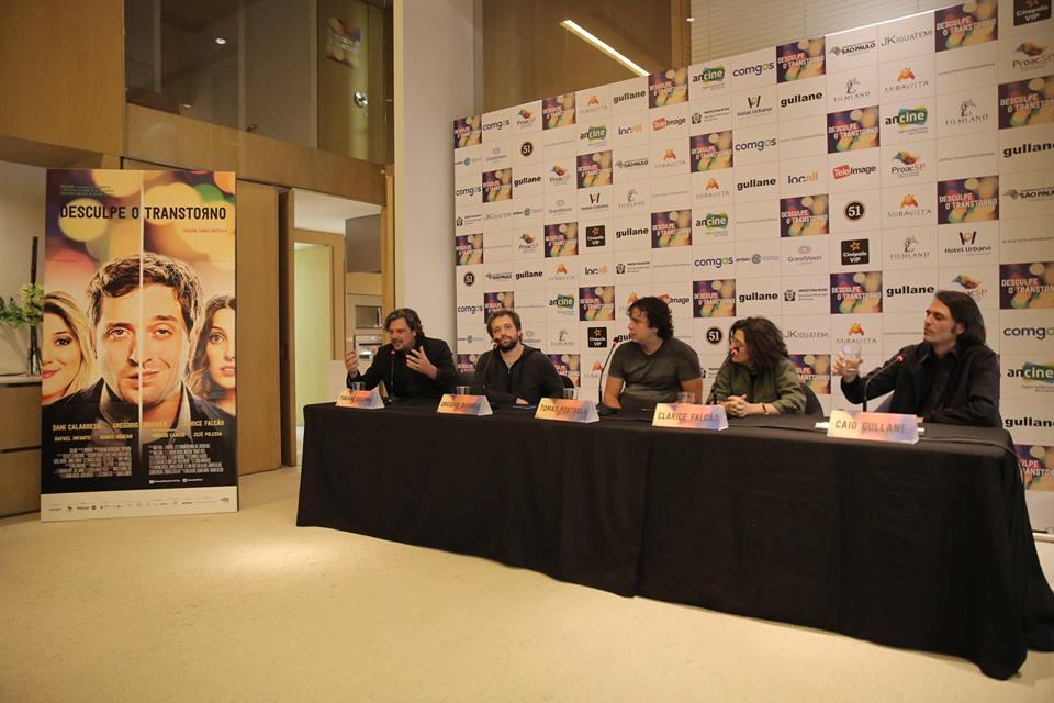 Da esq para a dir: Fabiano Gullane, Gregorio Duvivier, Tomas Portella (diretor), Clarice Falcão e Caio Gullane